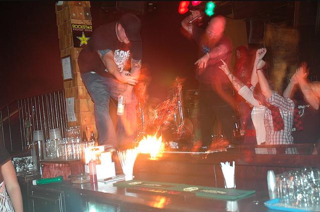 Iron Giant - PJ lights guitar on fire